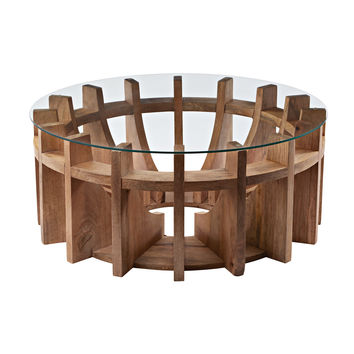 Lazy Susan Wooden Sundial Coffee Table - 985-038
