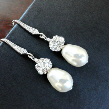 Teardrop pearl earrings, Rhinestone and Pearl Dangle Earrings, Wedding Jewelry, Pearl Bridal Drop Earrings, Bridesmaid earrings