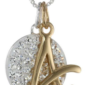 Crystal Pave Circle Disc 14k Gold over Sterling Silver Letter Charm Initial Pendant Necklace