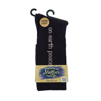 Maggie's Organics Socks - Organic Cotton - Knee High - Mantra - On Earth Peace Eggplant - Size 9 To 11 - 3 Pair