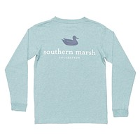 Youth Heathered Authentic Long Sleeve Tee in Washed Moss Blue by Southern Marsh - FINAL SALE