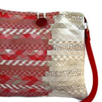 Crossbody Messenger Purse in Beige and Red. Quilted Patchwork Bag.