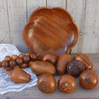 Monkeypod, Wood Bowl, Fruit, Leilani, Mid Century, Vintage, 11 Piece Set, MCM