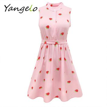 Japanese Mori Girl Strawberry Print Sleeveless Dress Kawaii Lolita Sweet Pink High Waist A Line Mini Dresses Summer New 2018 NEW