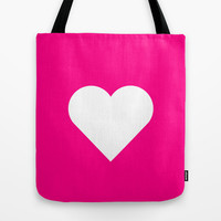 Magenta White Heart Tote Bag by RexLambo