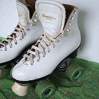 Vintage Retro Youth Roller Skates, Dominion Canada --Pair of Roller Derby Skates -- White Leather Youth Roller skates--Dominion Figure Skate