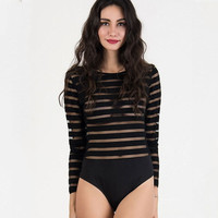 Striped Long Sleeve Backless Bodysuit