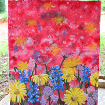 Texas Wildflower Field- Hand Painted on  22x28 in. canvas