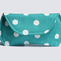 Sunglass Case for Large Sunglasses -Turquoise Polka Dot Sunglasses Case - 2 color options - Last Chance - Free Shipping in US