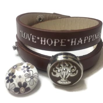 Chocolate Brown Love Hope Happiness Snap Jewelry Wrap Around Leather Bracelet Set With 2 Charms