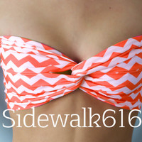 Orange and White Chevron Print Bandeau Top Spandex Bandeau Bikini
