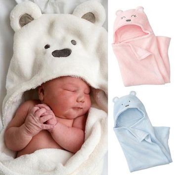 Cute bear baby wraps newborn infant blankets coral fleece warm winter sleep bag soft boys girls sleepsack toddler fit 0-2y