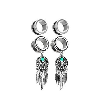 BodyJ4You 2 Pairs Surgical Steel Screw-Fit Tunnel Dreamcatcher Dangle Tribal Plug 4G (5mm) Stretcher Gauges