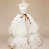 Silk ribbon Stratpless Wedding Gown Dress Rose High fashion Vera Wang inspired