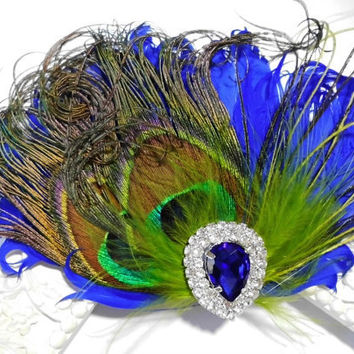 Wedding Feather Hair Accessories, Feather Fascinator, Bridal, Hair Piece, Peacock, Cobalt Blue, Green, Hair Clip