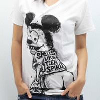 MICKEY MOUSE T Shirts unisex size S handmade drawing and silk screen printing