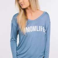 #MOMLIFE Long Sleeve Top - Blue