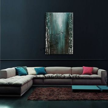 "Painting, Teal abstract painting on canvas by Nandita Albright, Tree Art, Livingroom Decor Size: 24"" x 36""(60.96 cmx 91.44cm) Fast shippinng"
