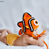Baby Clown Fish Ear Flap Hat PATTERN PDF by HatsandWhatKnots
