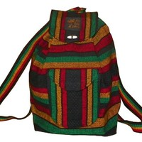 No Bad Days Baja Backpack Ethnic Woven Mexican Bag - RASTA