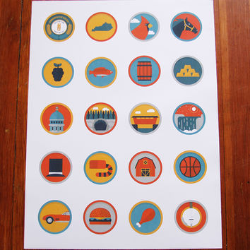 Kentucky Icons Print