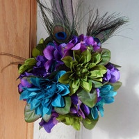Peacock feather wedding kissing ball/ Pomander purple green and peacock blue