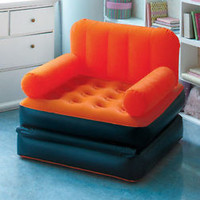 Orange Multi Max Inflatable Air Chair To Single Bed Camping Game Room Bedroom