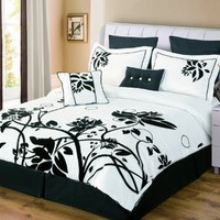 Luxury Home Chelsea 8-Piece King Comforter Set, Black/White