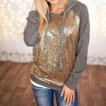 ONETOW Fashion Sequin stitching hooded sweater