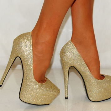 WOMENS GOLD GLITTER SPARKLY COURT PARTY HIGH HEELS SHOES SIZE UK 4 5 6 SHOES