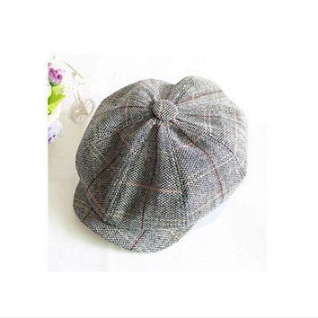 2018 Gray Fashion Wool Tweed Men's Cap