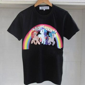 Moschino The Star Of The Same Rainbow Pony Unicorn Prints A Slim Female T Shirt.black