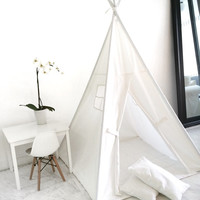 Children's Play Tent Teepee Handmade for Kids in White Canvas. Comes with Padded Mat Base and Two Pillows