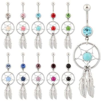 ac DCCKO2Q Belly button ring Body piercing Jewelry Dangle Dream Catcher Crystal Gem 14G Surgical Steel Nickel free 10 colors Free shipping