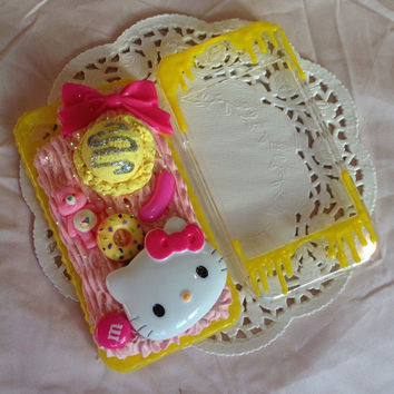 Pink and yellow kawaii kitty deco iphone 4/4s case