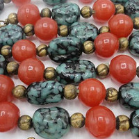 Art Deco Red And Turquoise Czech Art Glass Chain Link Flapper Necklace