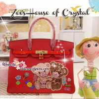 Swarovski / Czech Crystals - Hermes Birkin Inspired Genuine Leather Purse / Handbag with Lover Bear Bear - ZoeCrystal