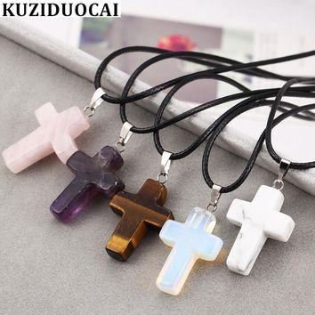 Kuziduocai New Fashion Jewelry Bohe Natural Stone Tiger Eye Cross Quartz Leather Choker Necklace Pendant For Women Colar N-511