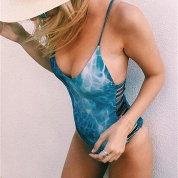 One Piece Swimsuit Tie Dye Swimwear Pad Beach Bathing Suit Monokini Push Up Padded Swimming Suit for Women