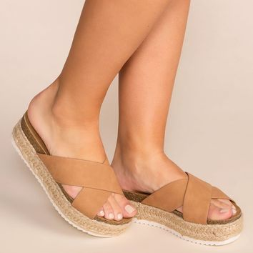 No Problem Tan Slide-On Platform Sandals