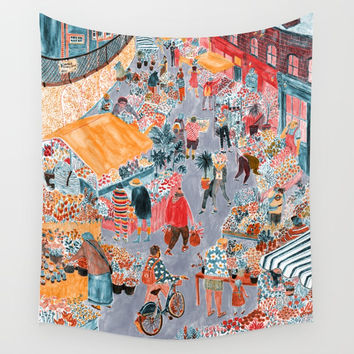 Columbia Road Flower Market Wall Tapestry by Mouni Feddag