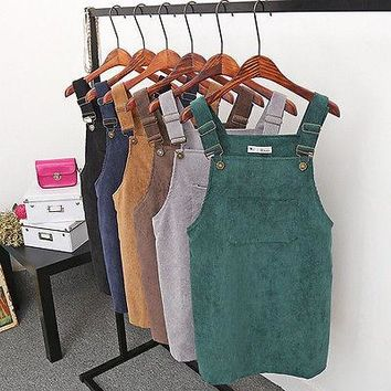 Women Vintage Sleeveless Casual Overall Dresses Mini Strap  Suspender Dress Short Girls Dress