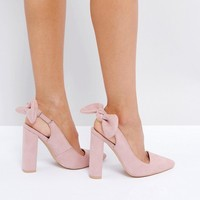 Public Desire Dover Bow Pointed Heeled Shoes at asos.com
