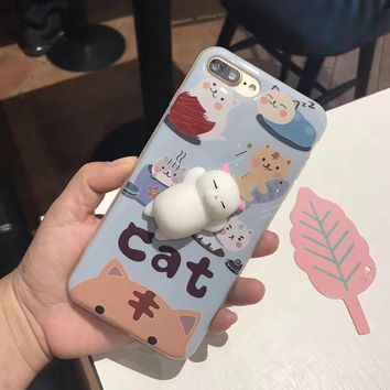 Luxury 3D Soft Lazy Cat TPU Silicone Phone Cases For iPhone 6 6S Plus 7 7plus Lovely Toy Cat Back Cover Case For Apple 7 plus