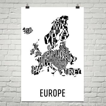 Europe Neighborhood Typography Prints – Modern Map Art