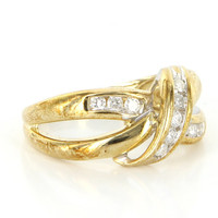 Vintage 10 Karat Yellow Gold Diamond Crossover Band Ring Fine Estate Jewelry