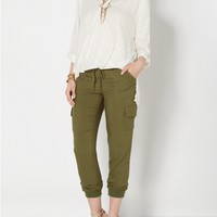 Olive Green Woven Cargo Jogger