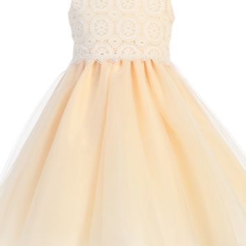 Peach Satin, Venise Lace & Tulle Overlay Easter Spring Dress (Baby 3 Months - Girls Size 10)
