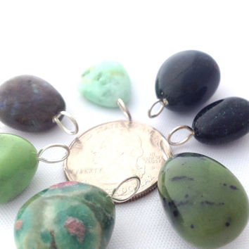 Lot of 7 Gemstone Pendants / Green Polished Tumbled Stone Pendants / Jewelry Making Supply / Crystal Healing / Crafting / Necklace Piece