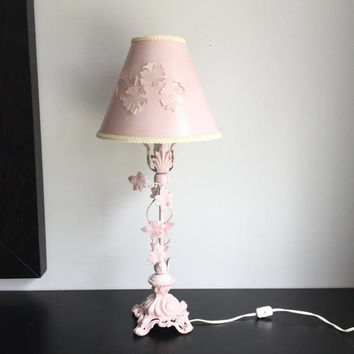 Shabby Cottage Lamp, Boudoir Lamp, Princess Lamp, Pink Table Lamp Cast Iron with Tole Ivy Leaves, Paris Apt, Bedside Lamp, Housewarming Gift